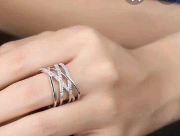 Cincin titanium twist kristal swarovski