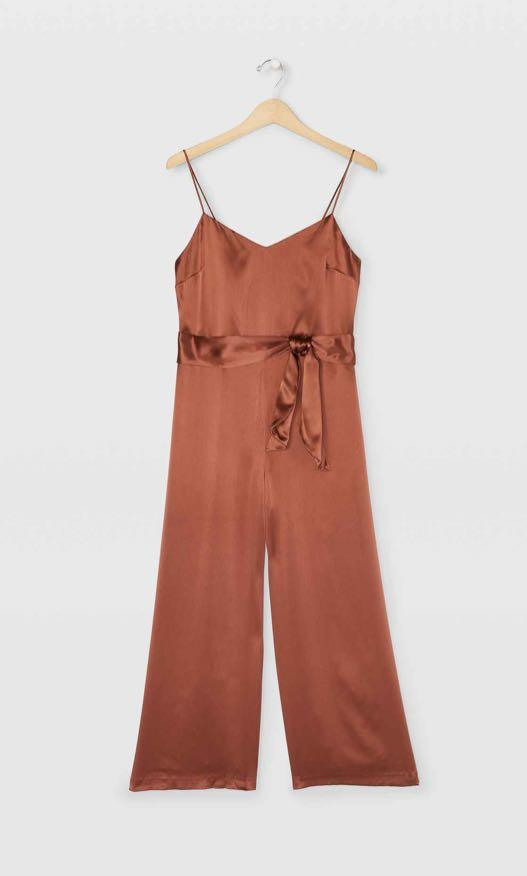 Club Monaco: 100% Silk Jumpsuit (00-Brown)