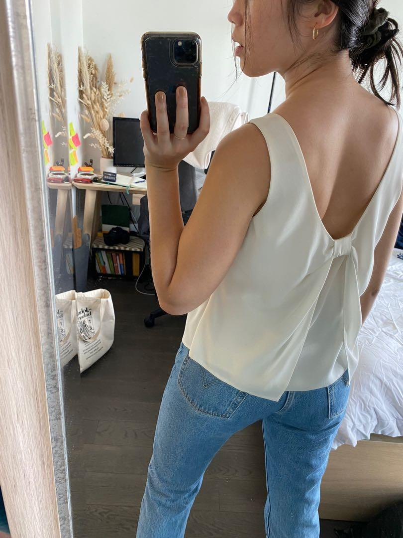 Miss Selfridge Tank with Bow Detail in Cream