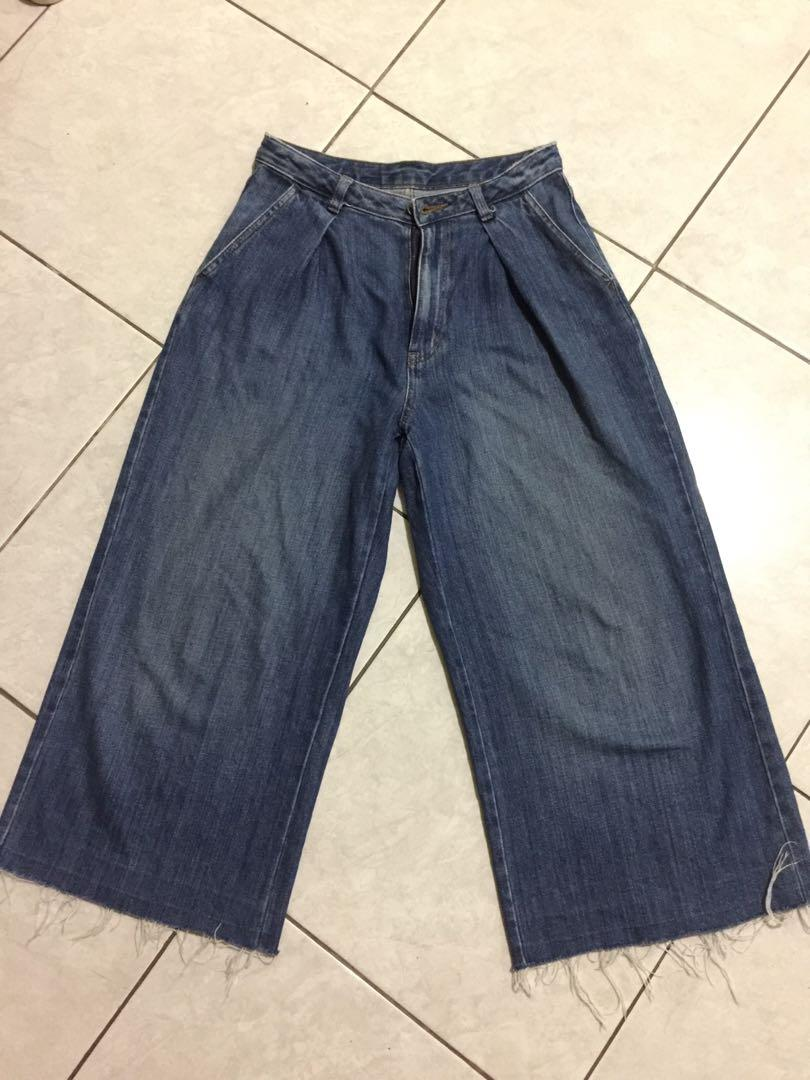 cullote jeans ripped by GU Uniqlo