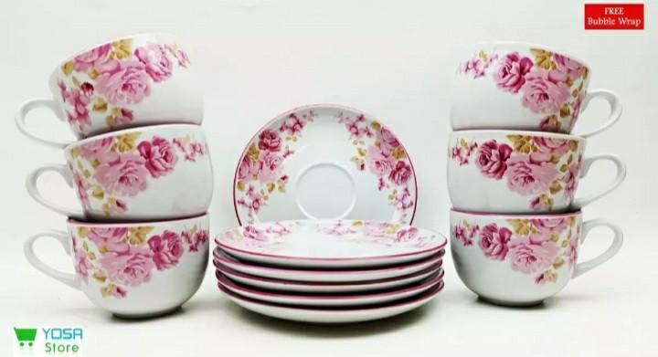 Cup set + Saucer Shabby Chic Pink Flower