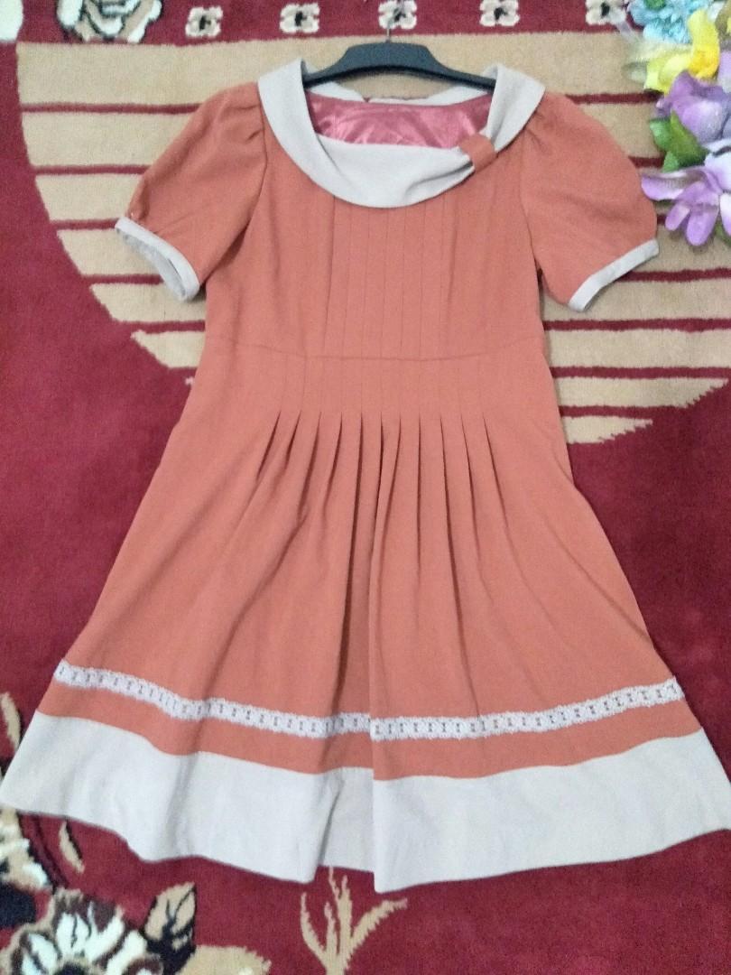 Dress cantik gaya korea lapis Furing tebal dan nyaman