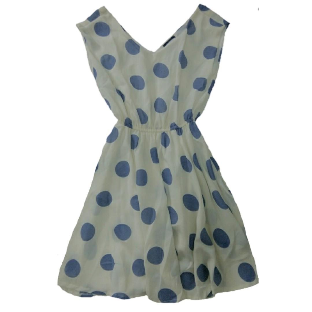 Dress Polkadot Biru Cantik