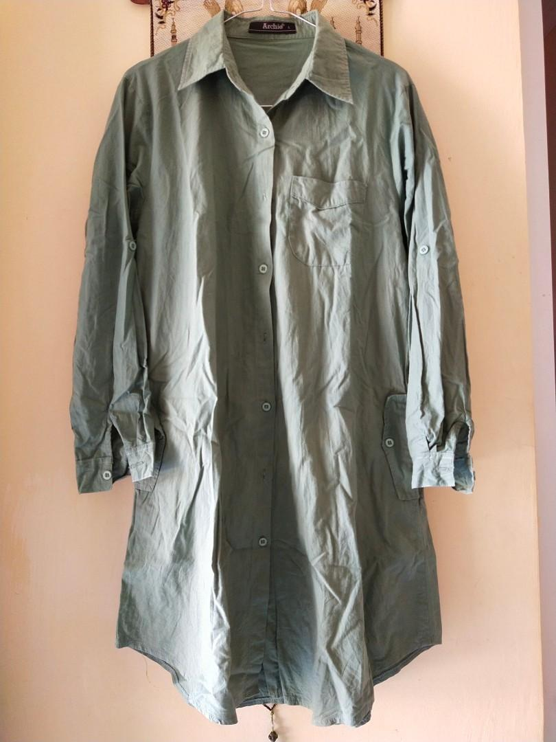 Dress tunik kemeja hijau army #oktoberovo