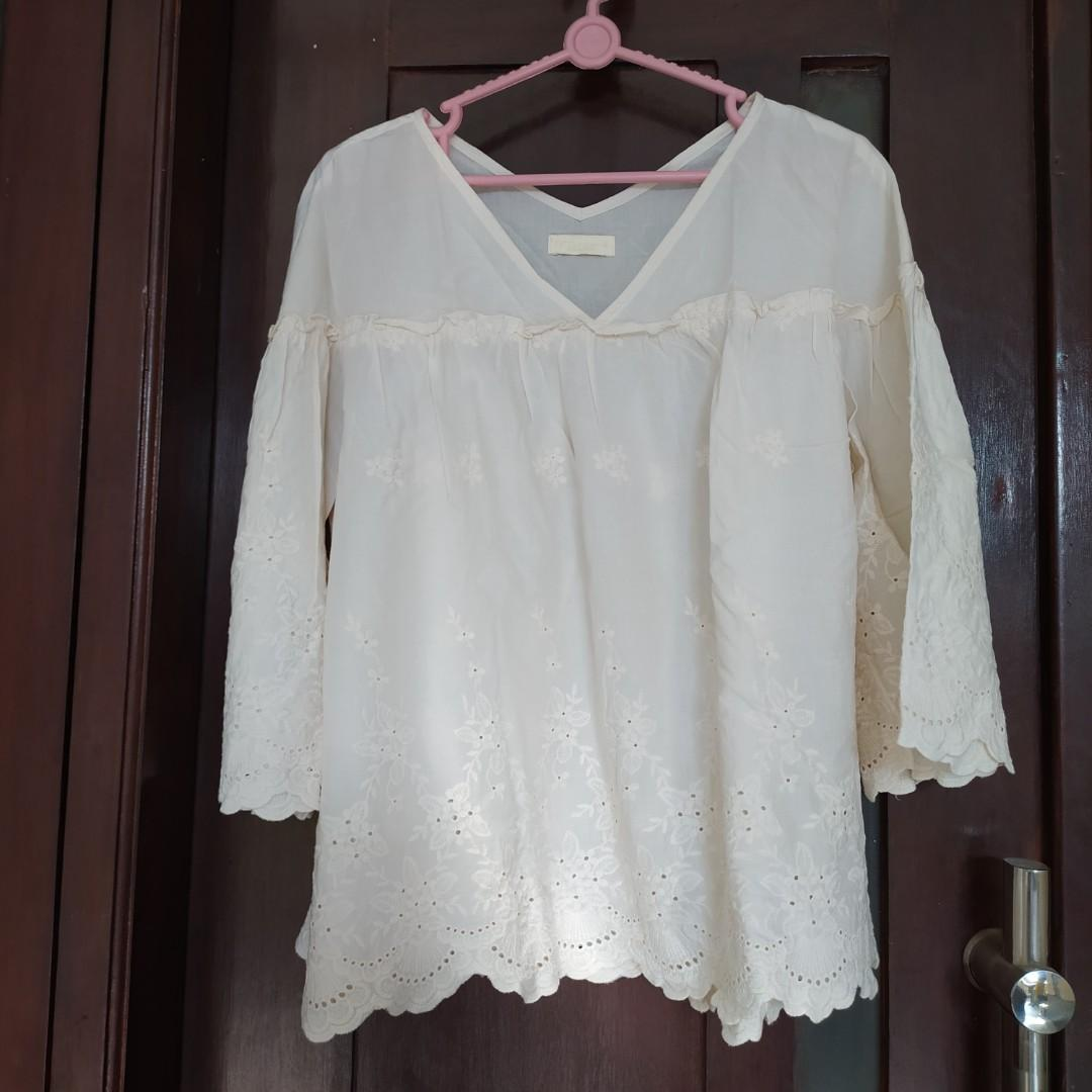 Earth, Music & Ecology Ivory Blouse