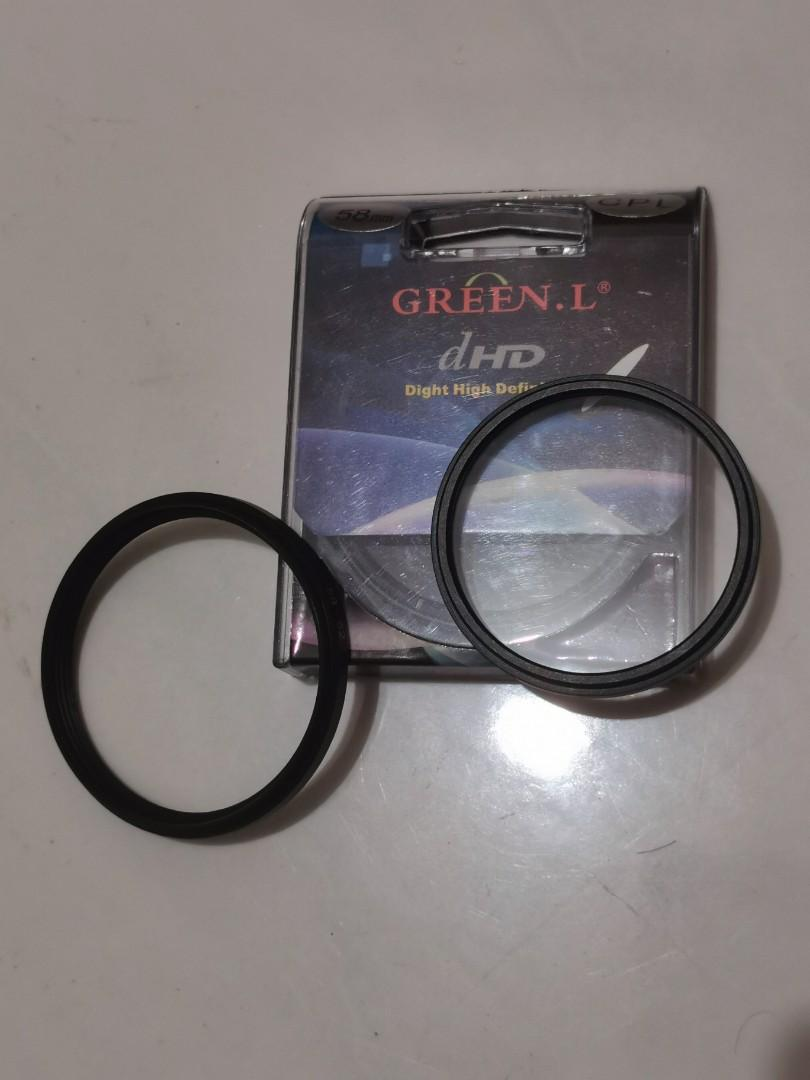 Fiter CPL green L 58mm, kokaii UV 52mm, ring down 58-52