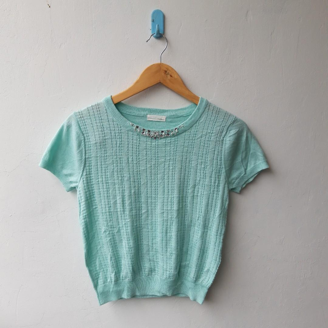 Green Knit Top with Beads
