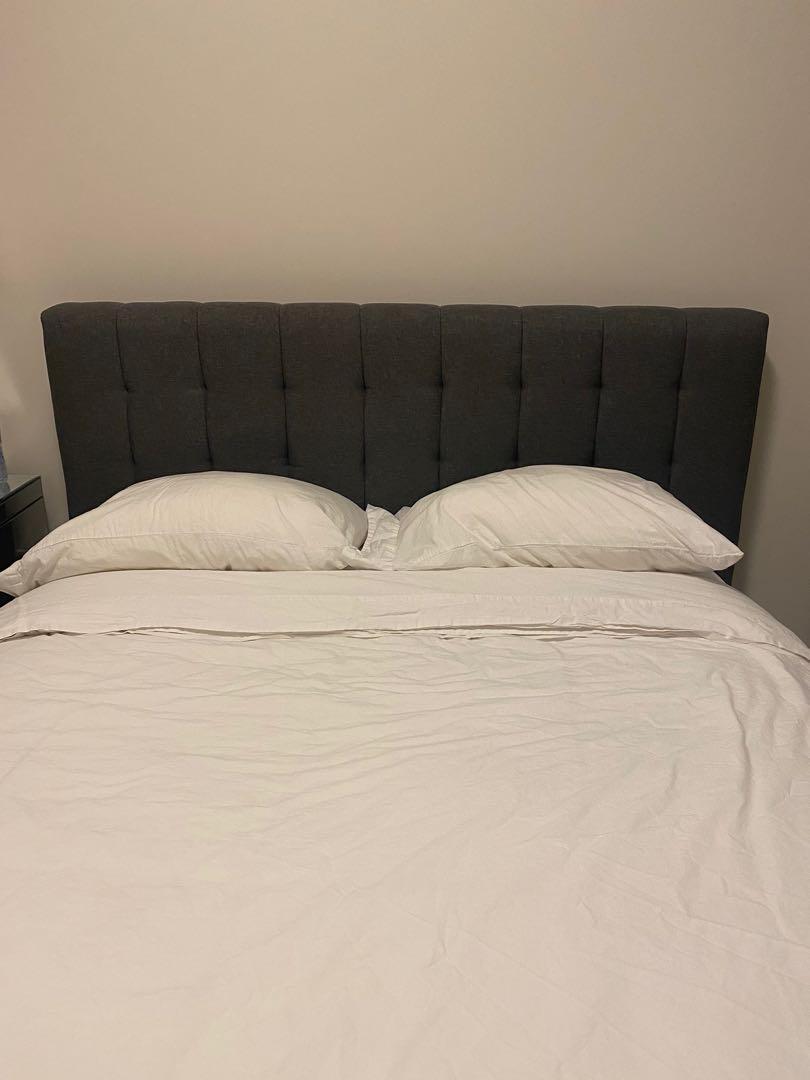 Grey platform bed