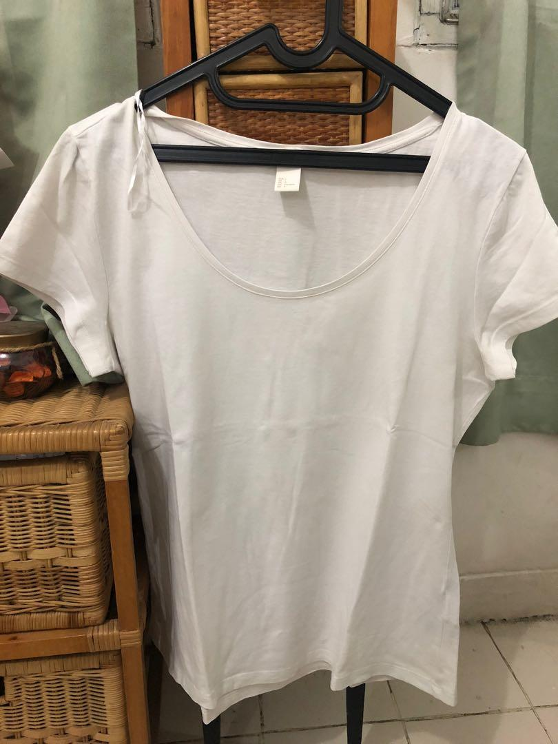 H&M Basic T-Shirt kaos polos putih white