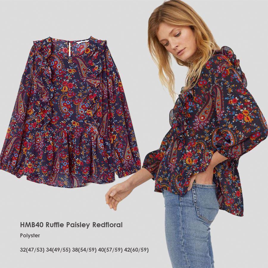 H&m Paisley print blouse with ruffle bukan zara