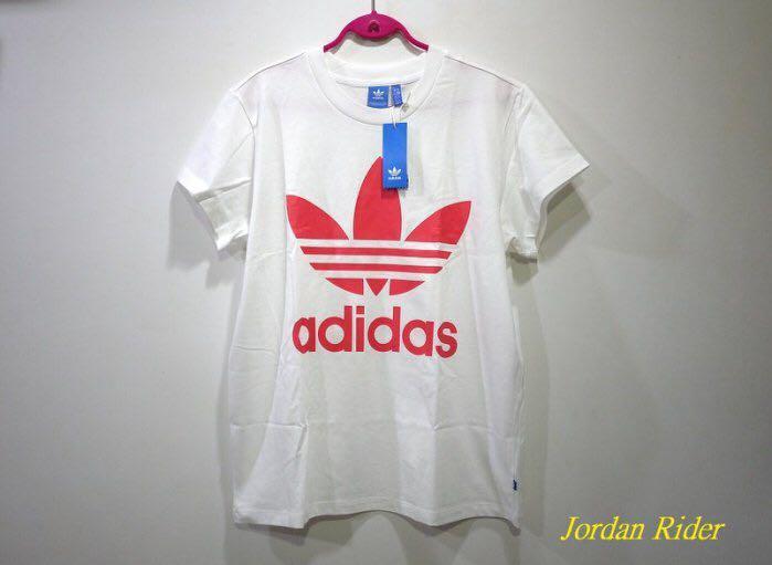 Jordan Rider 喬丹騎士 adidas Originals 愛迪達 三片葉 三葉草 桃紅色 大Logo 女生 白色 短袖T恤 寬版 大尺寸