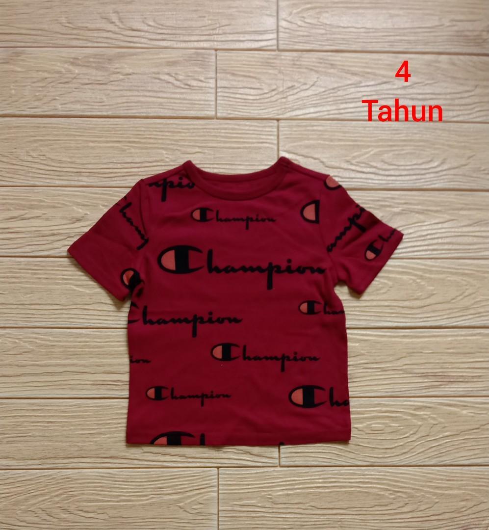 Kaos anak cowo champion kid merah 4 tahun