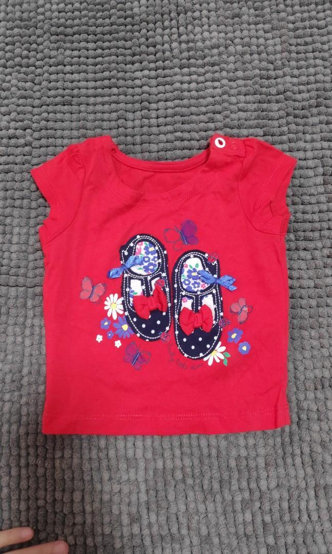 Kaos Bayi Mothercare Red Shirt Navy Floral Shoes 3-6 m