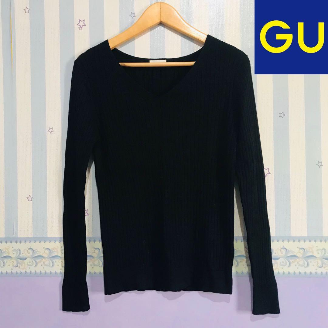 Like New! GU by Uniqlo Black Sweater / Baju Rajut Lidi Sweatshirt Cardigan Jacket jaket hoodie #oktoberovo