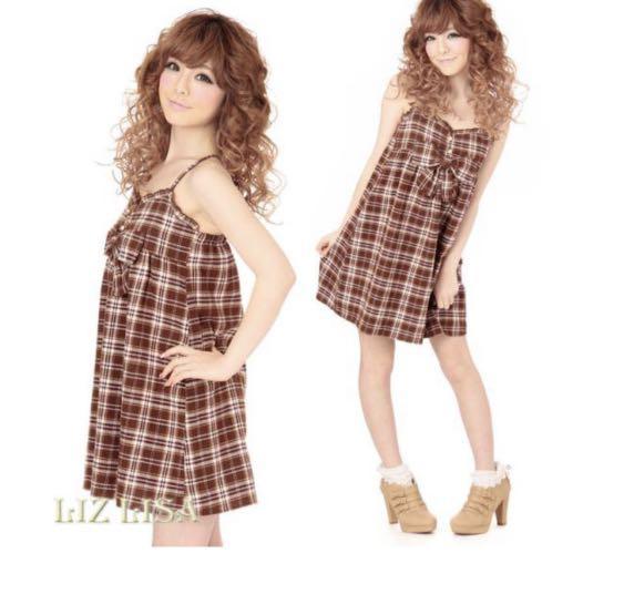 日牌liz lisa格紋吊帶裙