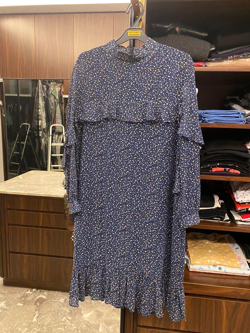 Long Sleeve Printed Korean Navy Dress