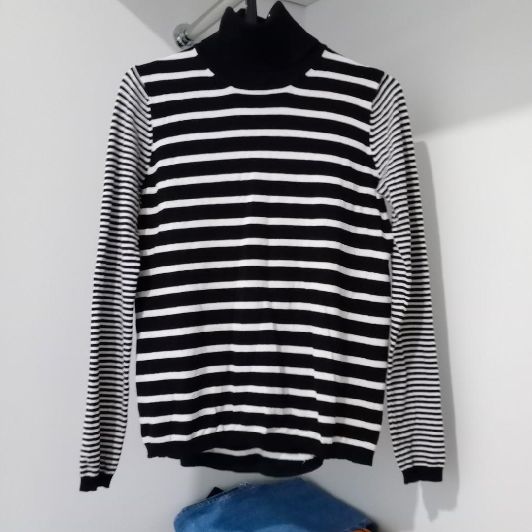 Mango Basics Turtleneck Longsleeve Stripe Top / Black & White Sweater #oktoberovo