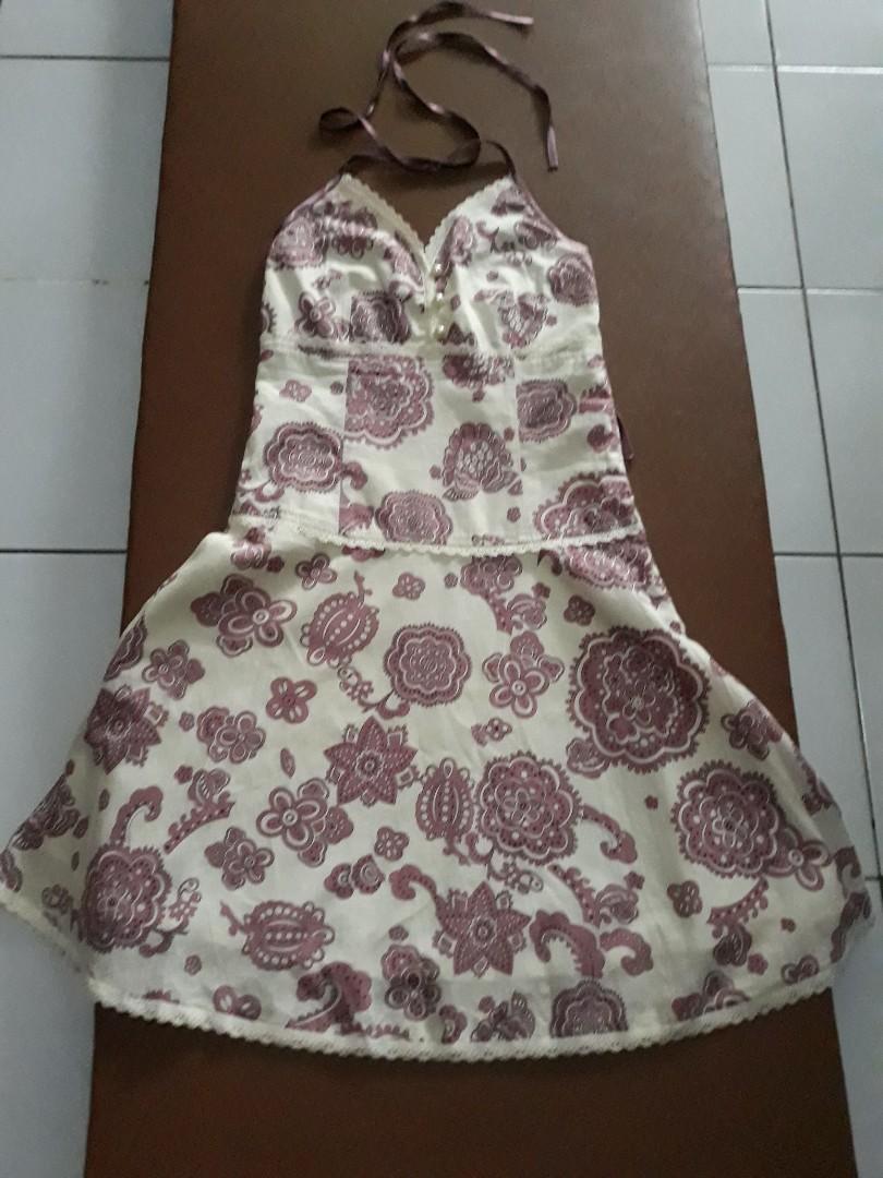 Mini dress motif kemben tali
