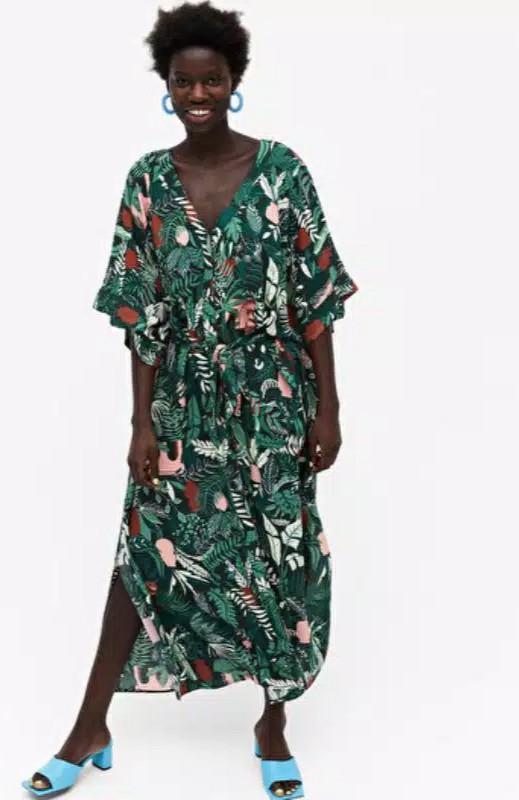 Monki green leaf kaftan long maxi beach dress