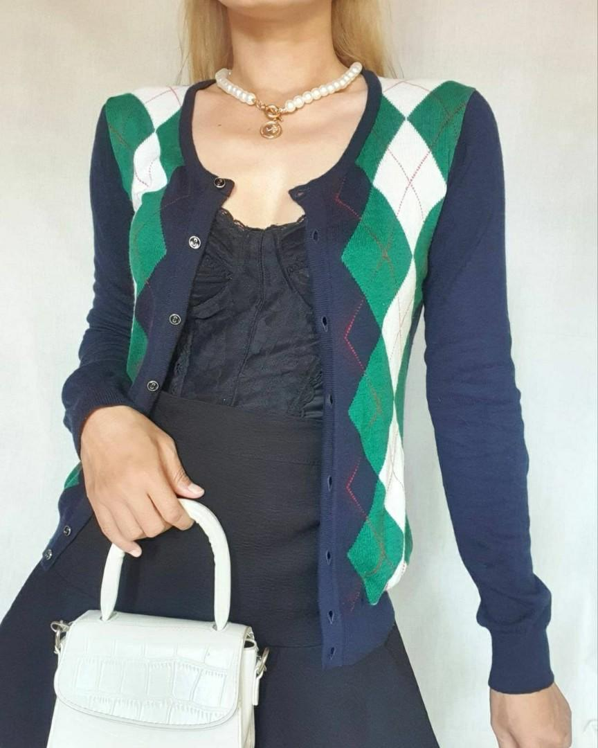 Navy green argyle cardigan