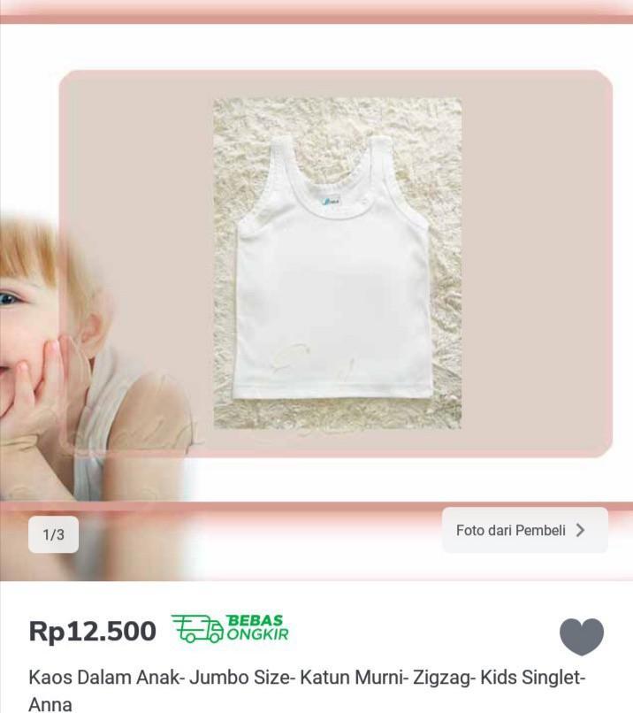 Kaos dalam anak (3pcs), BARU 141