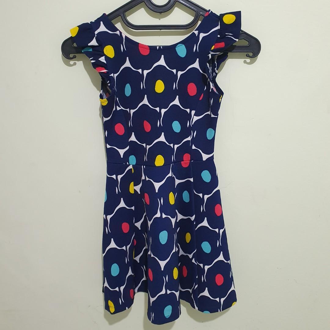 #oktoberovo Preloved Ruffle Dress Navy Size 9-10y