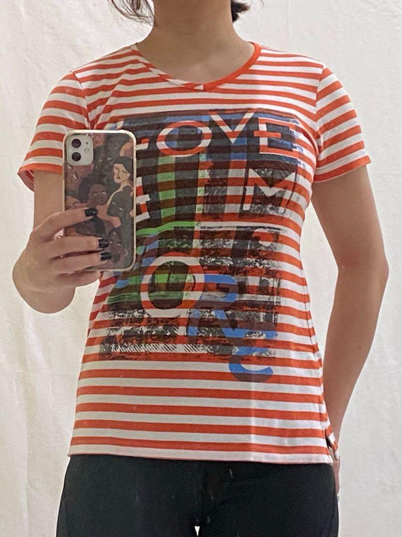 Orange Stripes T-shirt Kaos Cressida