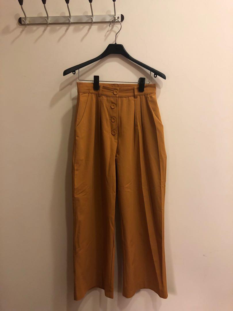 PAZZO 姜黃色雪紡排扣長褲