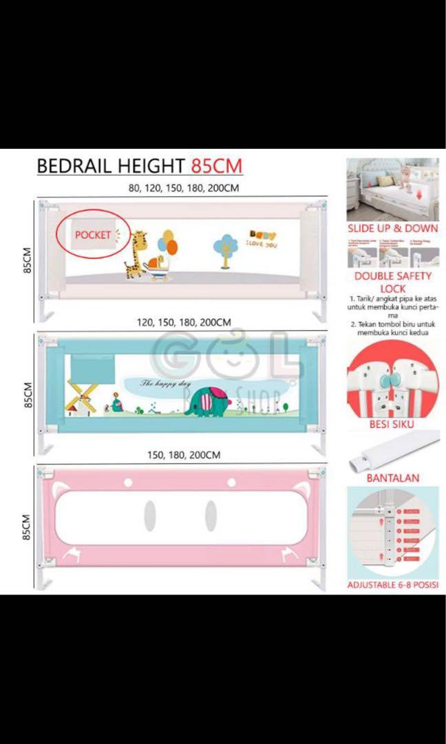 Preloved baby bed rail 150x80