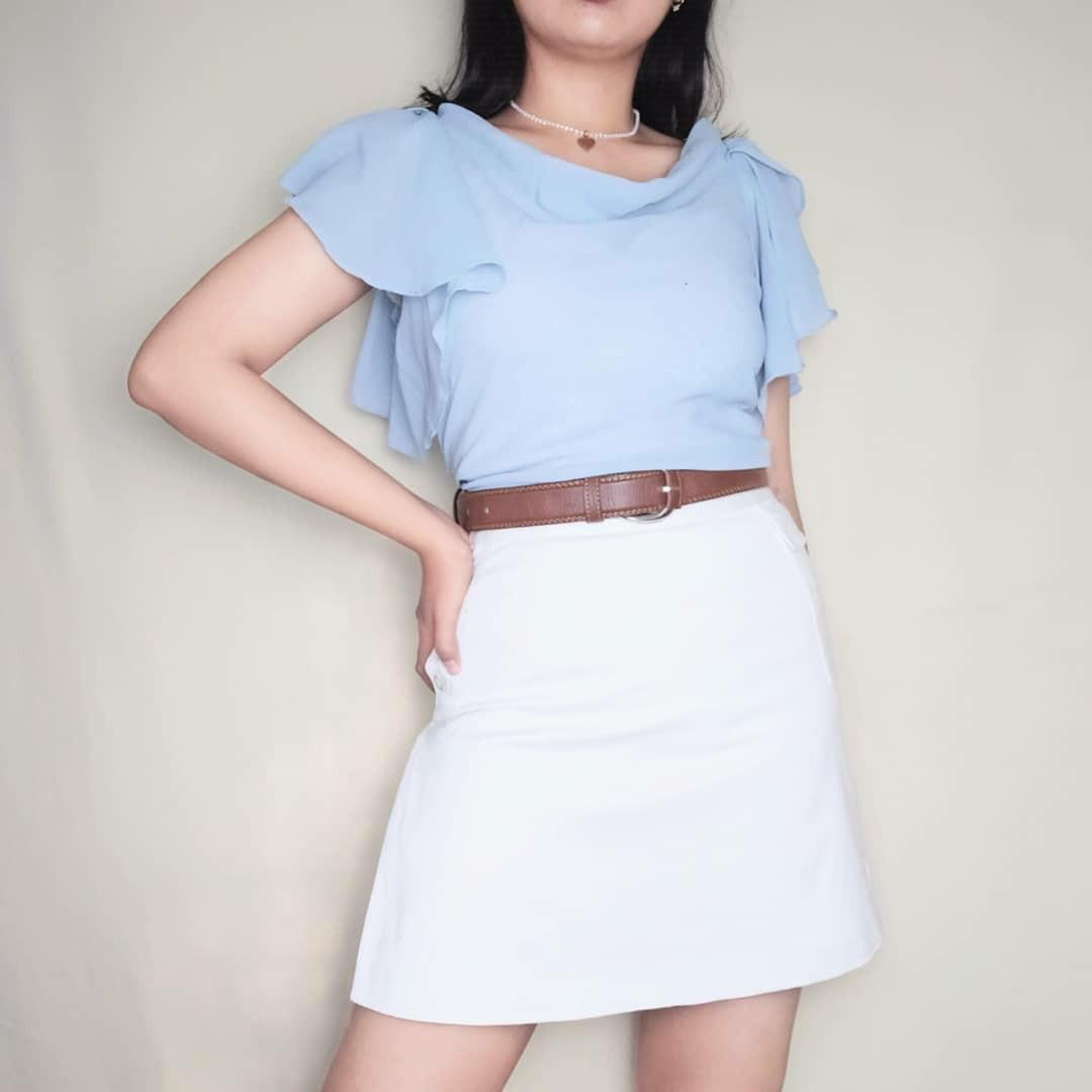 Preloved Thrift Baju Atasan Outer Outerwear Blouse baby blue pastel Cewek Wanita Murah Vintage Korea Retro Bohemian Boho Summer Tropical Casual Formal