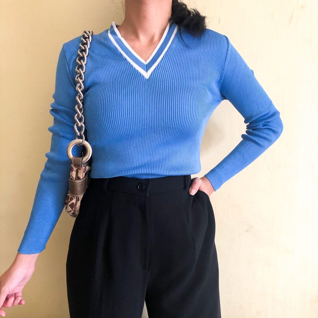 Rajut lidi biru / baju rajut