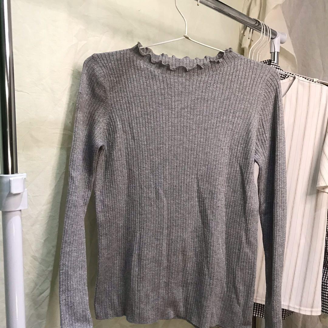 semi turtleneck grey sweater by uniqlo