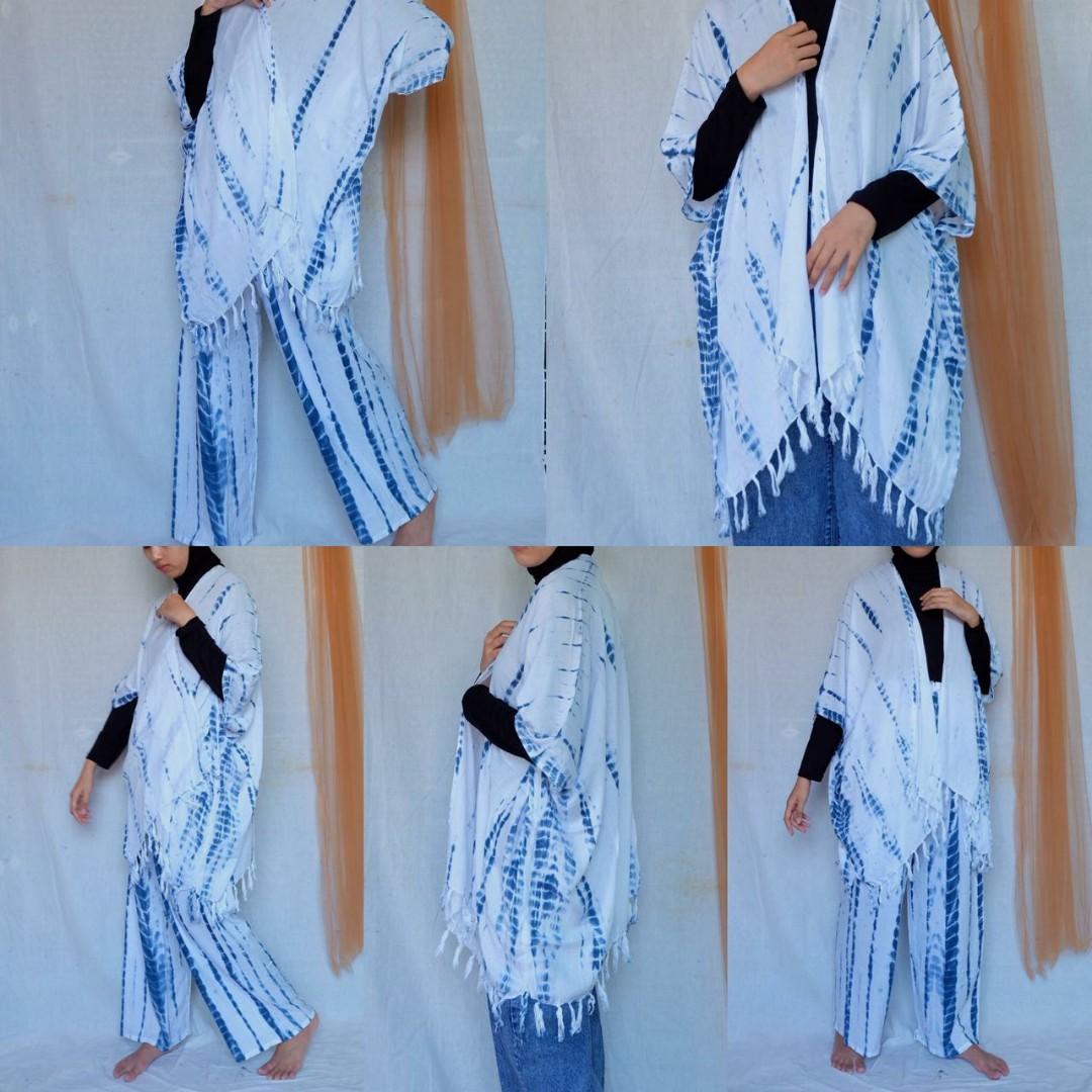 Set tie dye putih biru