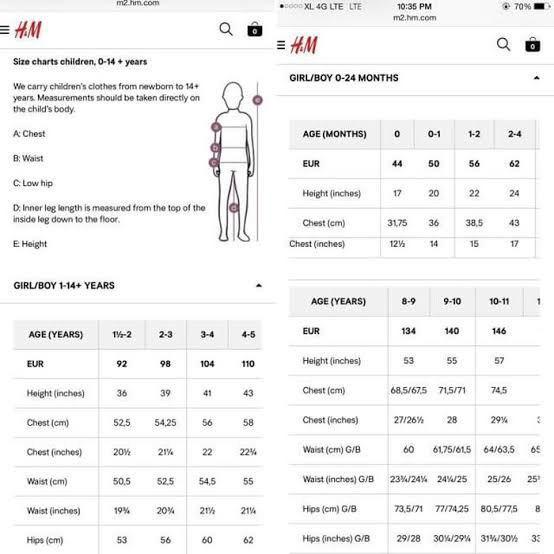 Size Chart Hoodie H&M 100%ORIGINAL