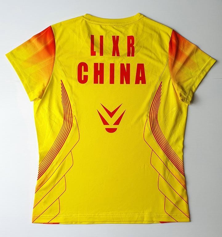 SPECIAL!!! CP (CHINA PLAYER) VERSION LI-NING AAYG246 LI XUERUI MATCH-WORN LONDON OLYMPICS 2012 Yellow Shirt Size L