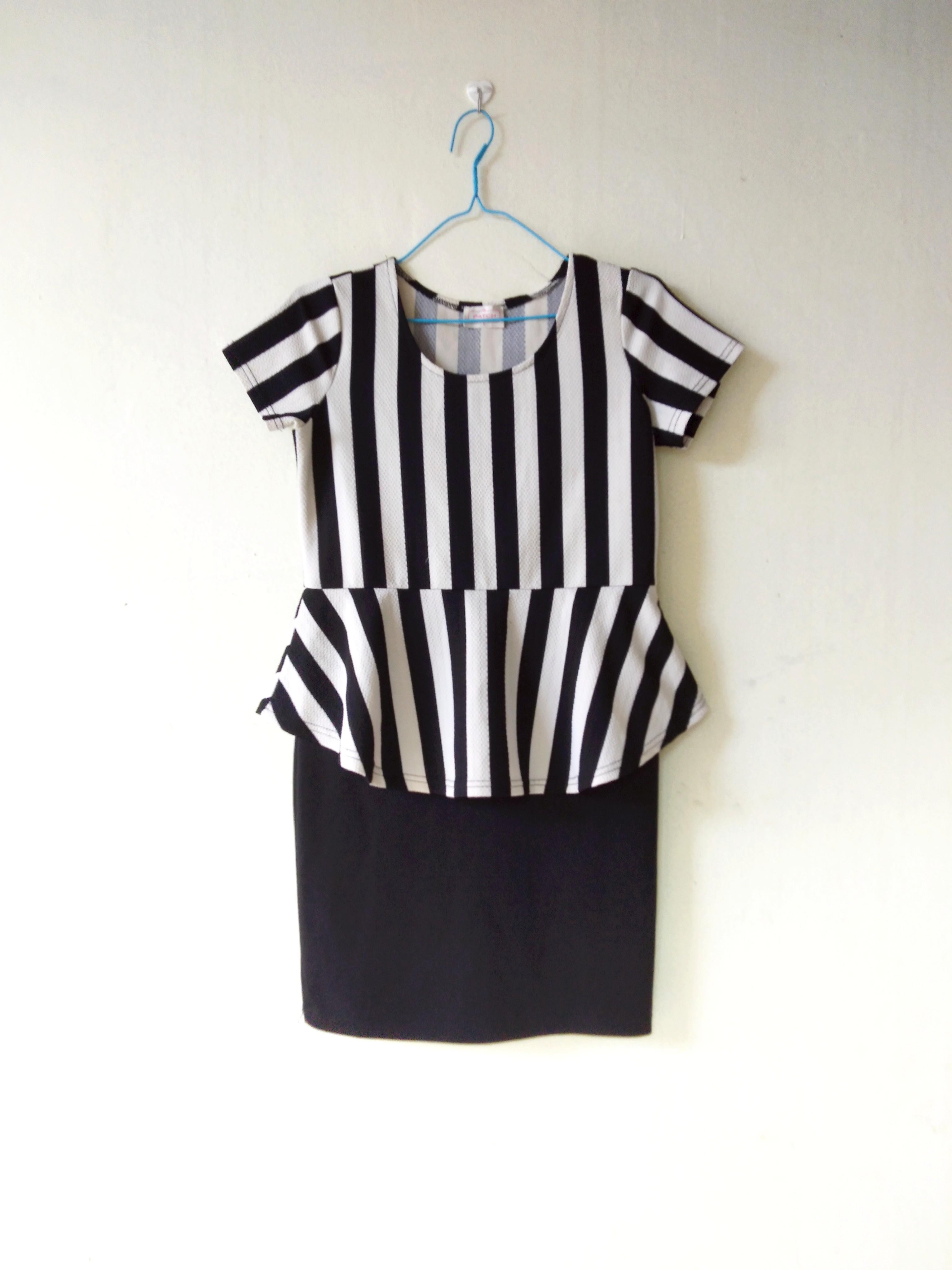 Stripe Peplum Dress #oktoberovo