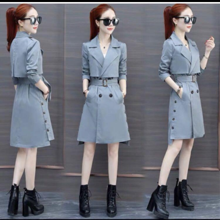 TRENCH COAT KOREAN STYLE-BABY BLUE-NEW. REAL PICT