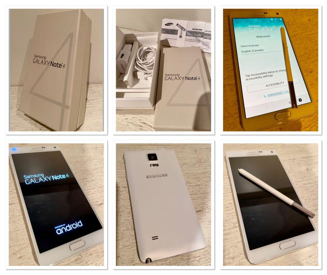 ***Unlocked Samsung Note 4 phone with charger,cord,pencil/,original box  and pamphlets