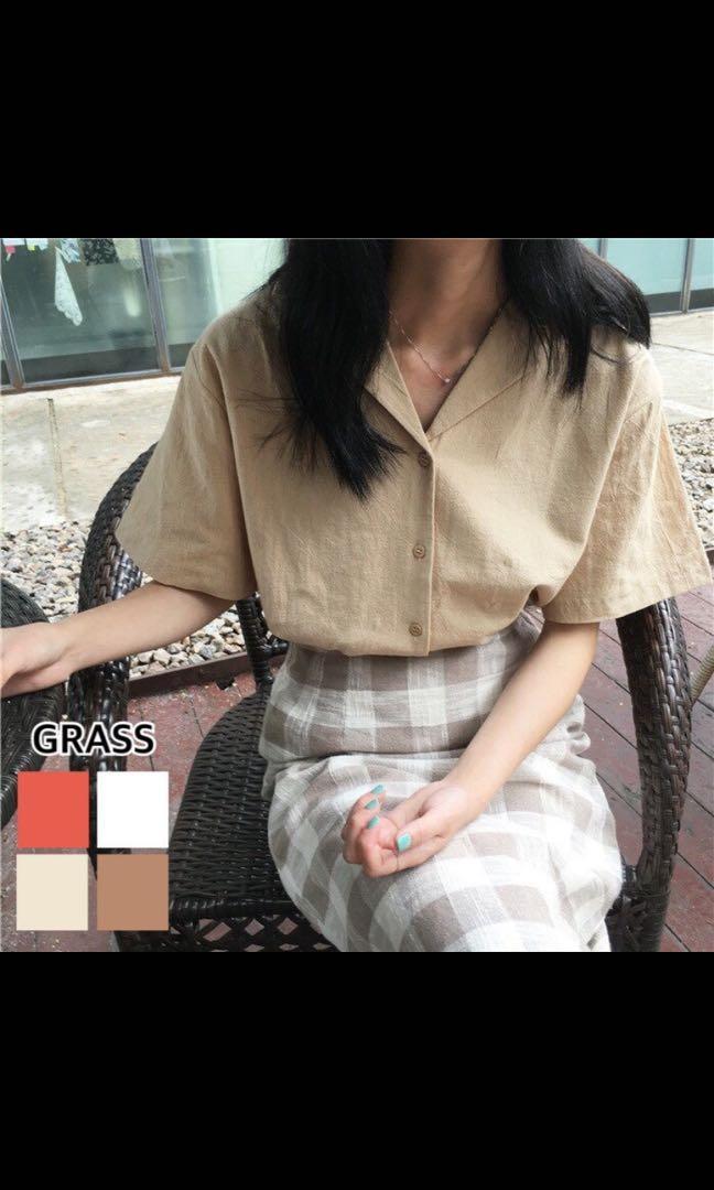 杏色v領襯衫