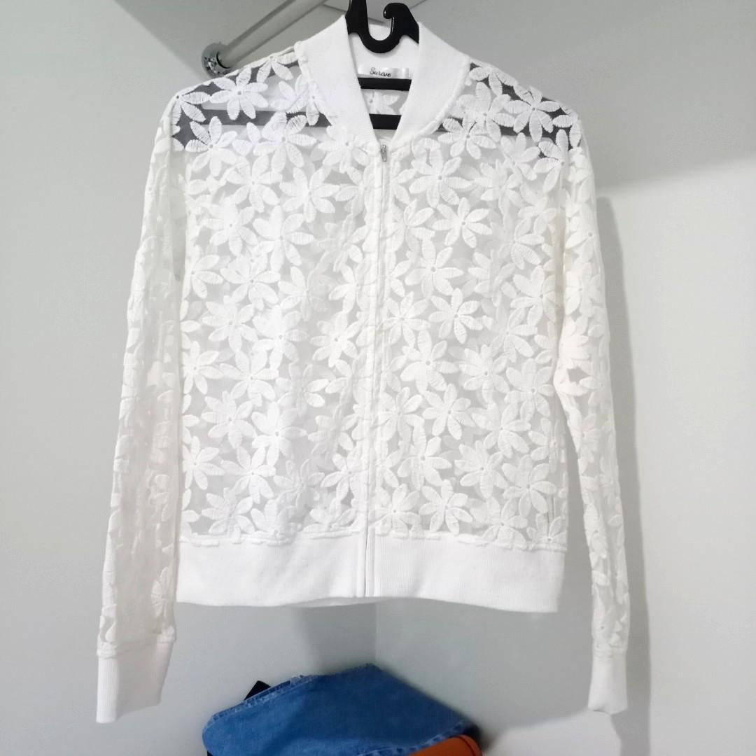 White Flower See Through Jacket / Outer / Cardigan #oktoberovo