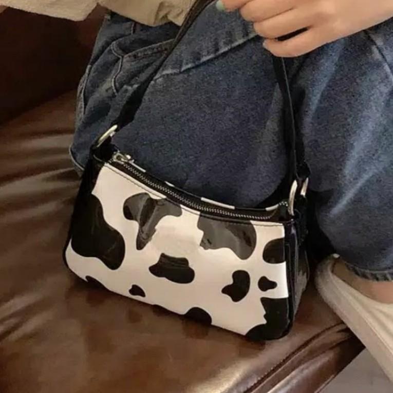 y2k cow pattern shoulder bag