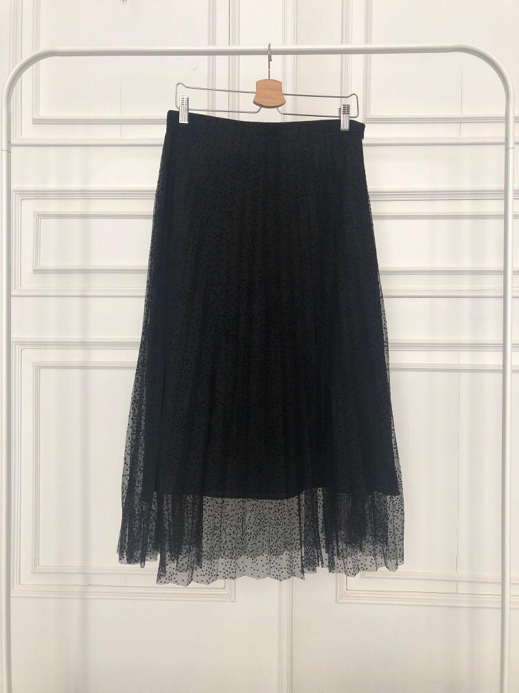 Zara black pleated skirt