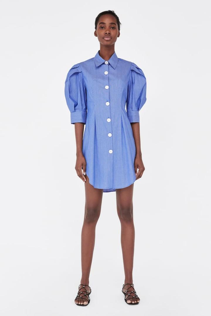 Zara blue striped tunic blouse