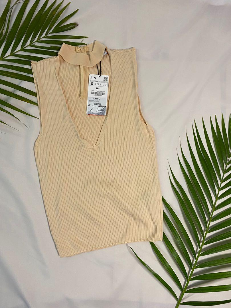 NEW ORIGINAL 100%- Zara Creme Collar Neck Top