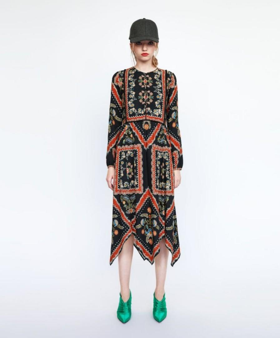 Zara floral patchwork print asymmetric midi dress