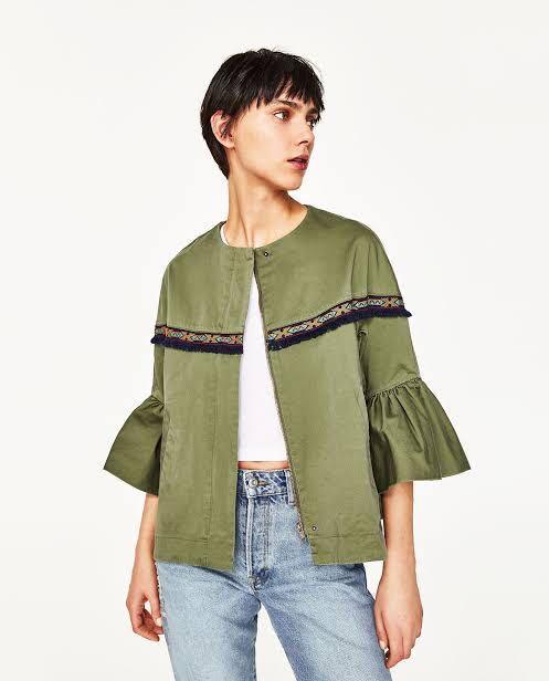 Zara Jacket With Frill Army