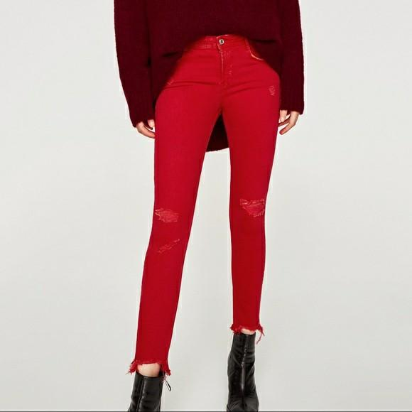 Zara red ripped jeans
