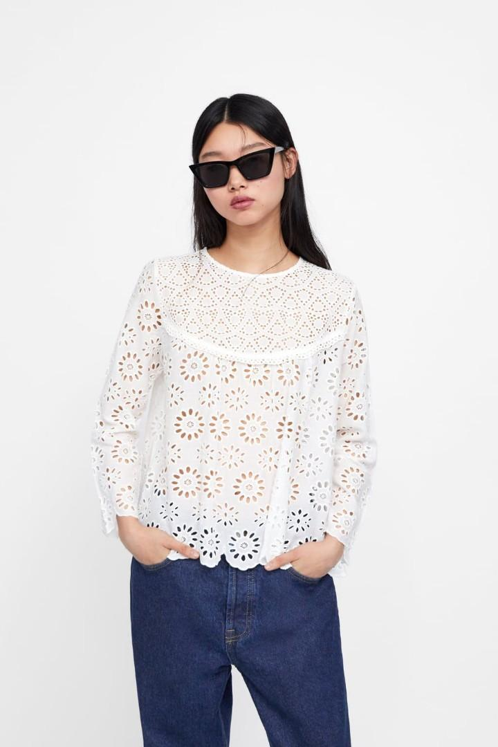 Zara white cutwork blouse with embroidery