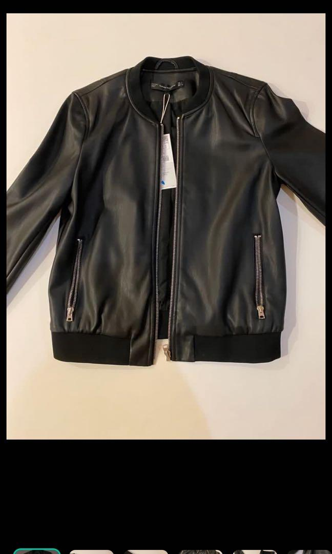 Zara women jaket kulit leather jacket