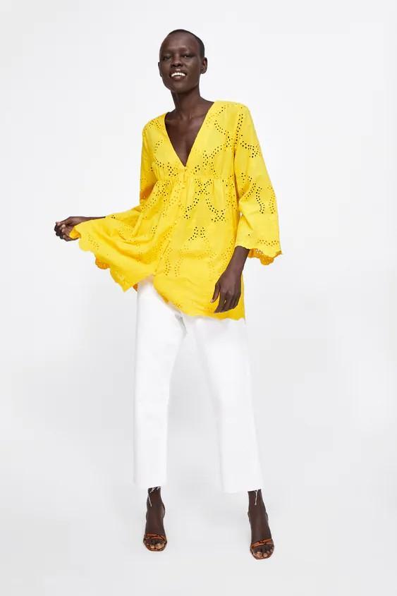 Zara yellow openwork embroidery blouse